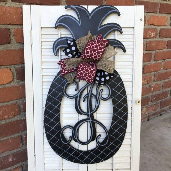 Pineapple Monogram Door Hanger Summer Wreaths Doube Door