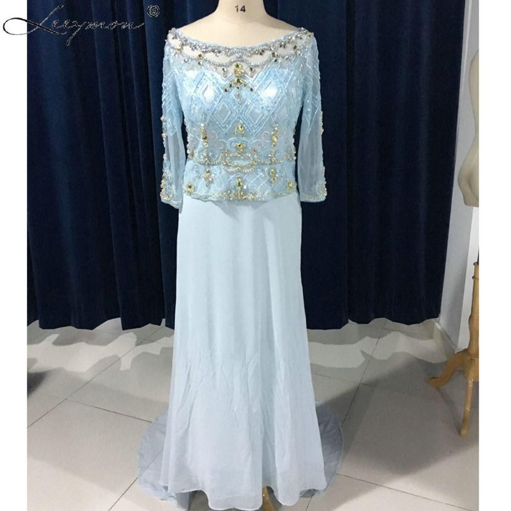 Real images elegant new light blue straight dubai caftan beaded