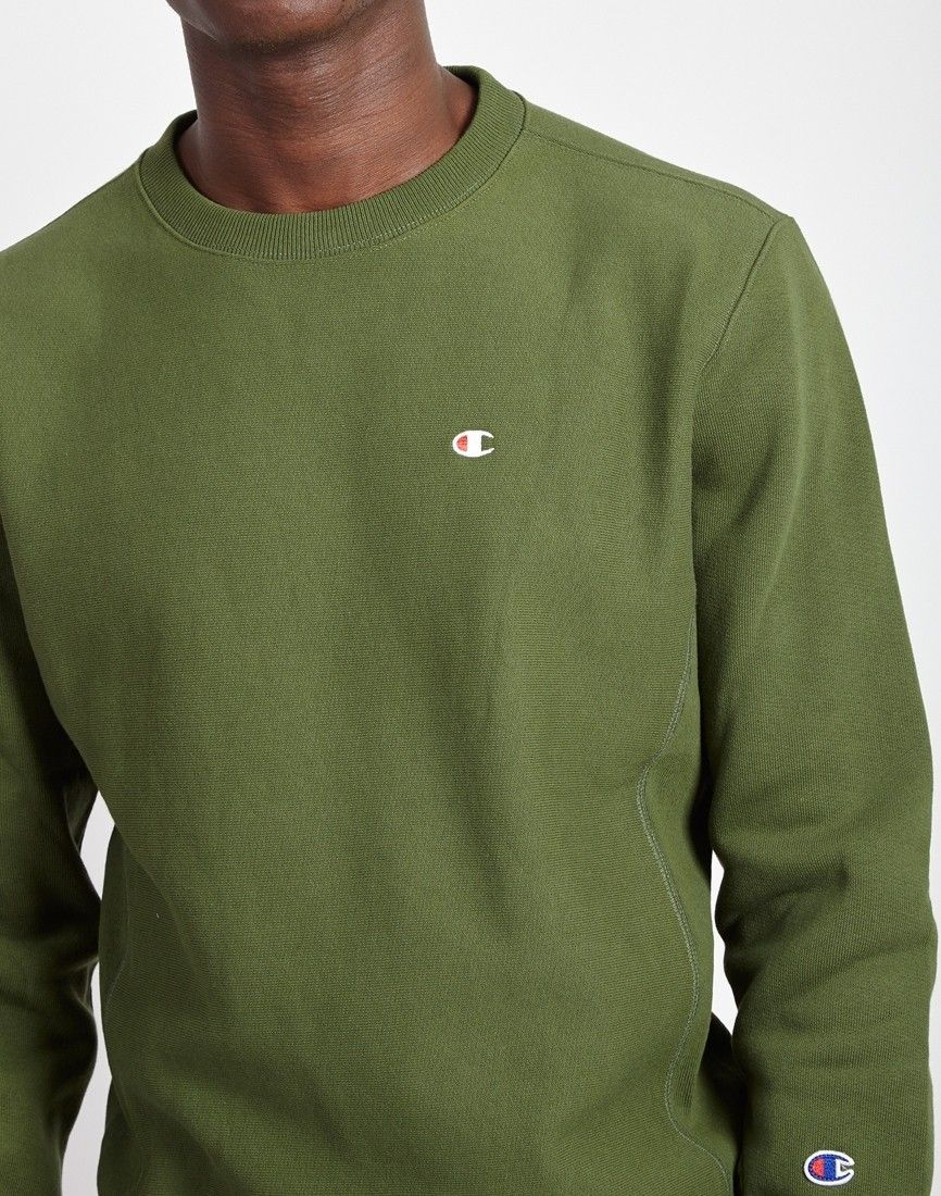 Champion Classic Small Logo Crewneck Sweatshirt Green At The Idle Man Shop Now Champion Crewneck Sweatshirt Crew Neck Sweatshirt Champion Crewneck [ 1100 x 866 Pixel ]