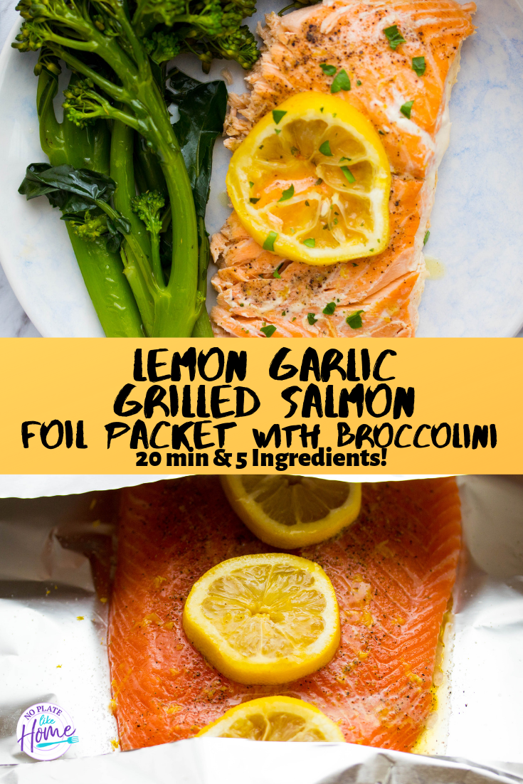 Lemon Garlic Grilled Salmon Foil Packet with Broccolini images