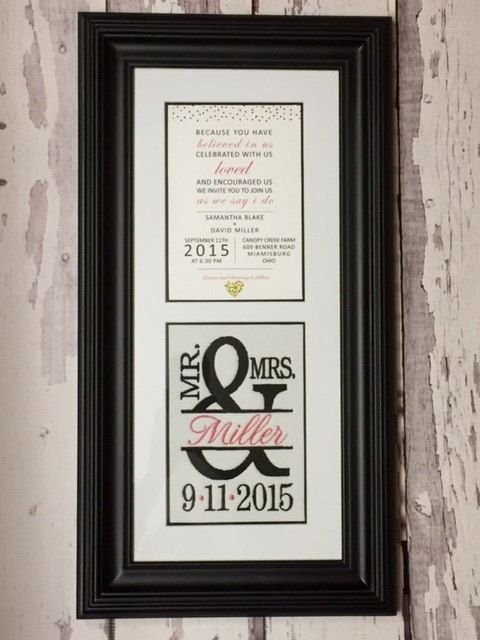 Custom Monogrammed Framed Wedding Invitation Keepsake | Cute Gift ...