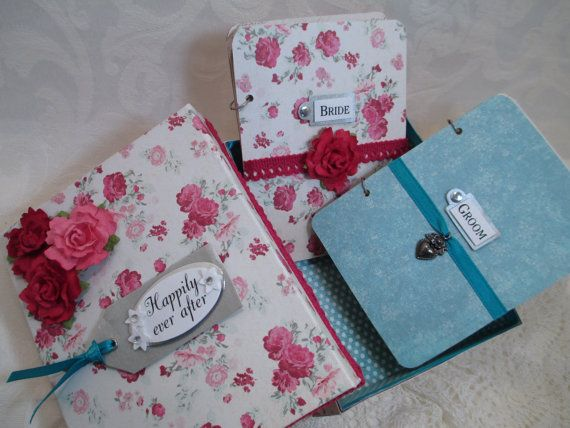 Wedding Vow Book Set Raspberry and Teal by TheMemoryKeeperShop, $34.95