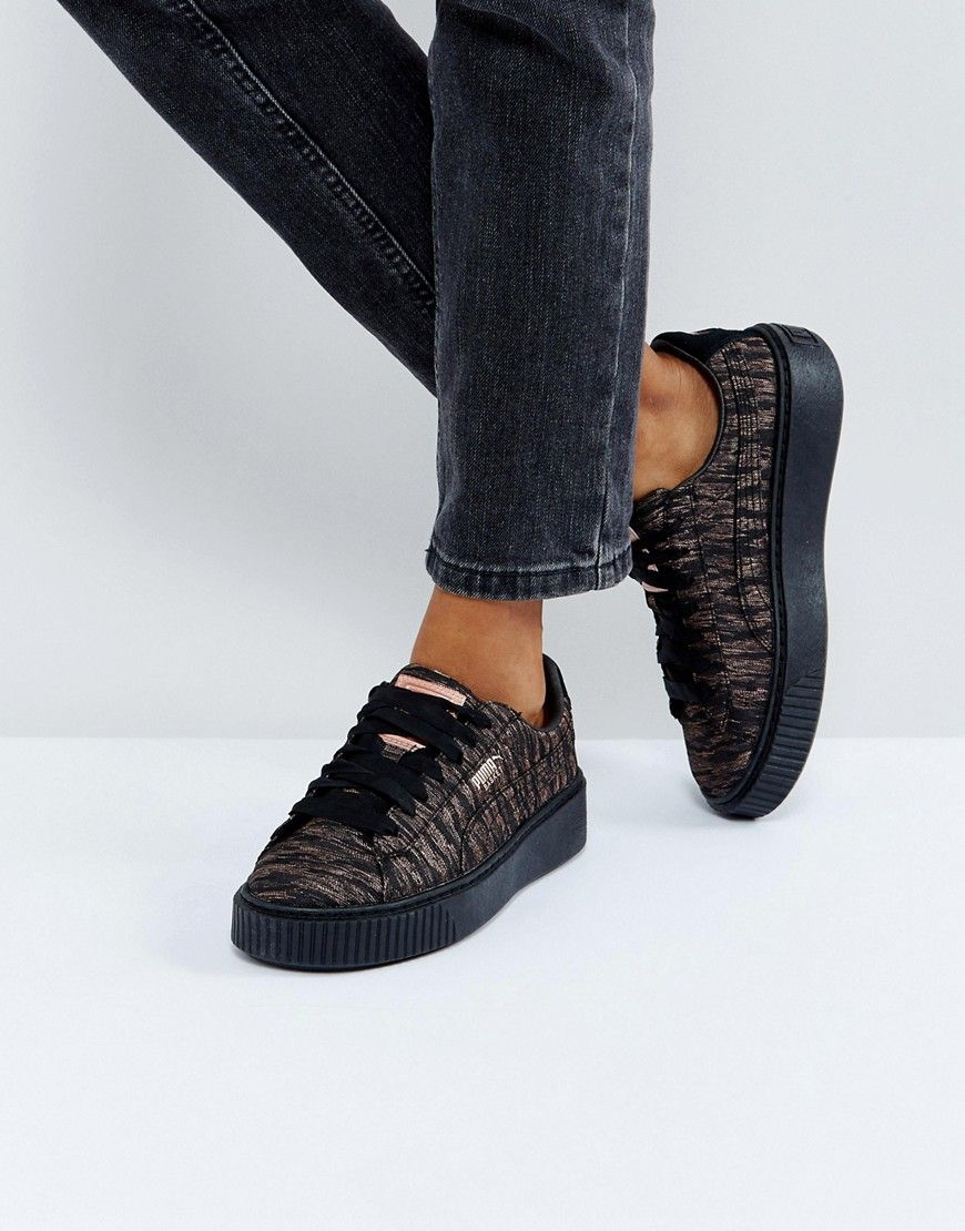 4b83802733 Puma Metallic Print Basket Platform Sneakers In Black - Black ...