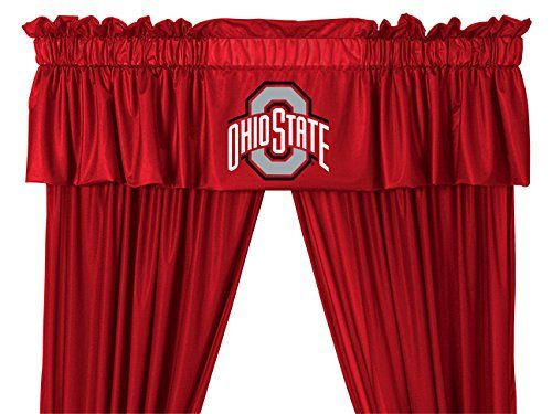 Ncaa Osu Ohio State Buckeyes 5pc Jersey Drapes Curtains And Valance Set Drapes Size 82 X 63 In Valance Valance Window Treatments Window Valance