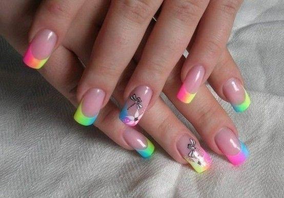 neon french nails | Nail Art | Pinterest | French nails ...