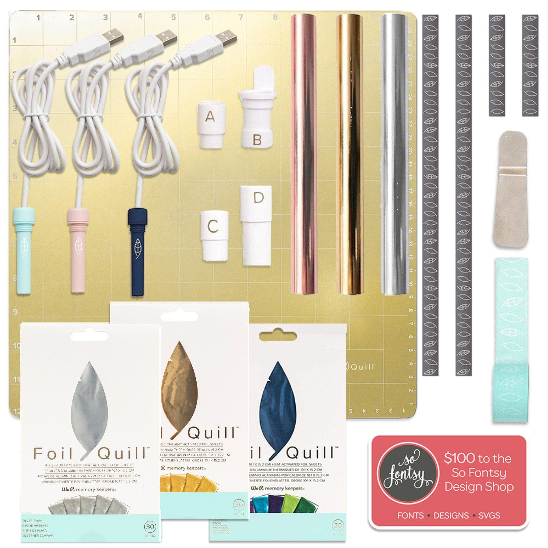 Foil Quill All In One Bundle Magnetic Mat 3 Foil Sets 3 Quills Adapters Design Card Swing Design Swing Design Shop Design Quilling