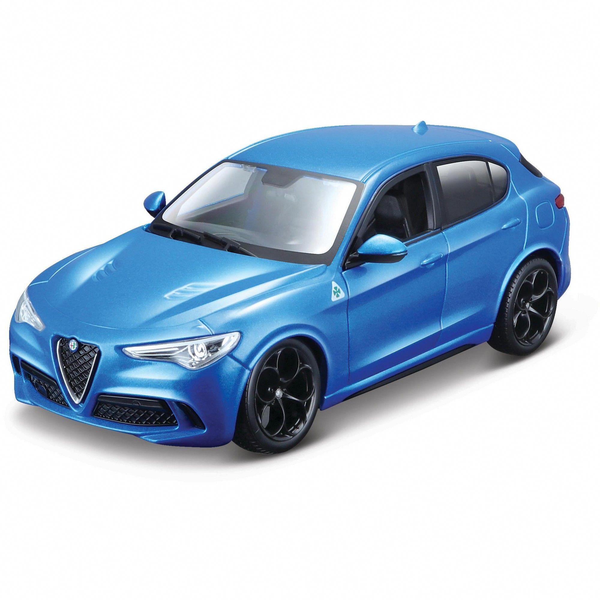 Alfa Romeo Stelvio Quadrifoglio Blue 1 24 Diecast Model Car By Bburago Ferraripink Sports Cars Luxury Diecast Model Cars Alfa Romeo