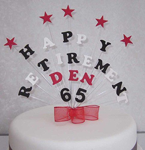 Personalised Happy Retirement Cake Topper Any Name Age A