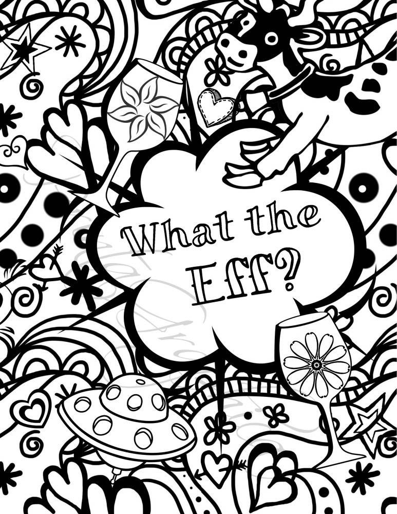 Adult coloring page downloadable, a funny UnSwearing