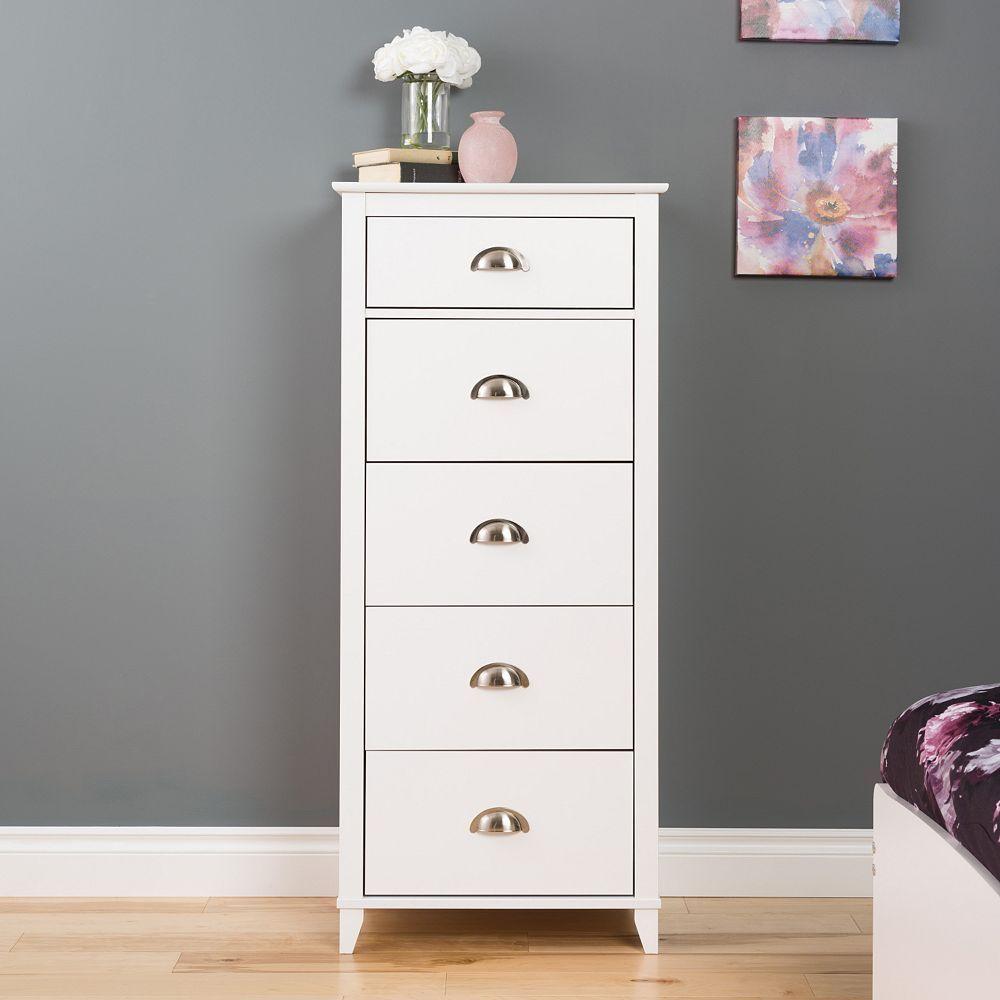 Prepac Yaletown 5 Drawer Tall White Dresser Tall White Dresser Shabby Chic Dresser White Dresser [ 1000 x 1000 Pixel ]