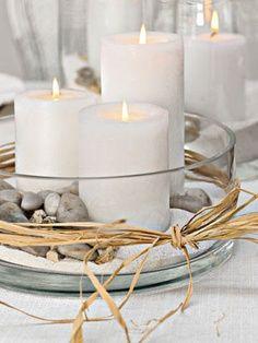 Kerzen Steine Sand Eine Schnell Gemachte Und Schone Dekoration