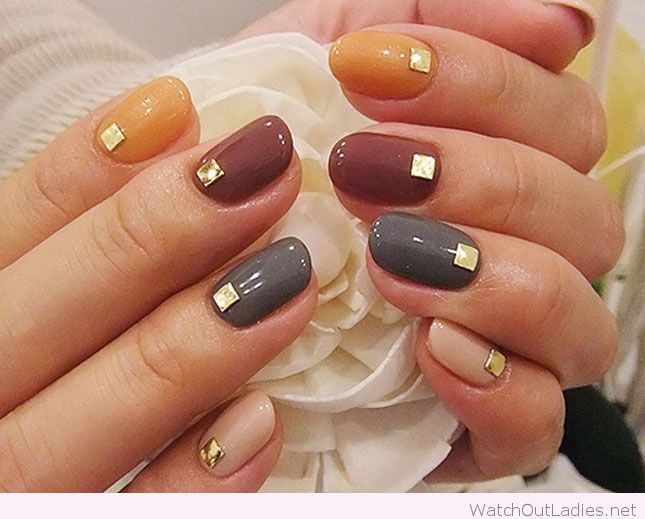 Fall nails - maybe triangles and not a stud maybe just an inset of color? - Pin By Emily Black On N A I L S Pinterest Manicure, Classy And