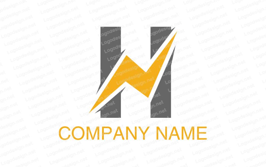 Lightning Bolt Incorporated With Letter H Logos Free Logo Generator Logo Design