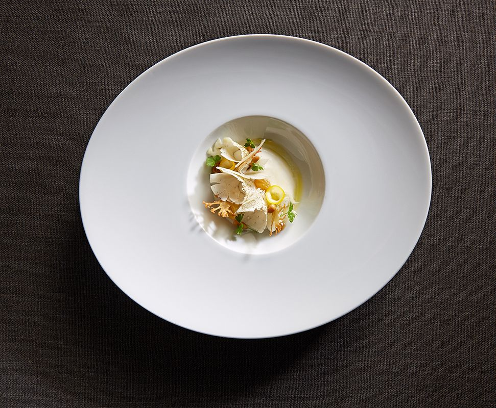 Galleries – The Art of Plating. Cauliflower bianco, Pecorino Romano, pine nut, and Meyer lemon by chef Michael Tusk. (photo by Maren Caruso)