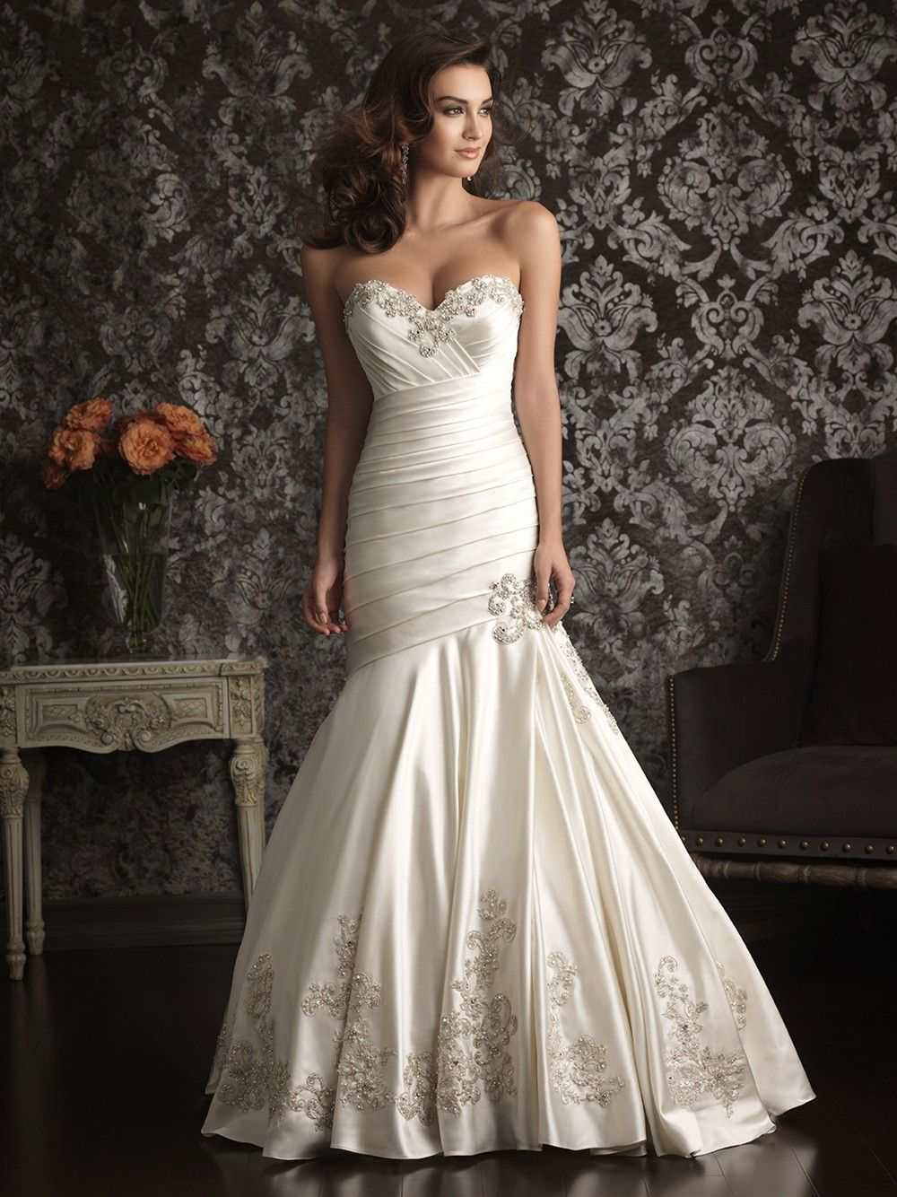 Mermaid sweetheart satin ruched wedding dress with for Sweetheart neckline ruched bodice wedding dress
