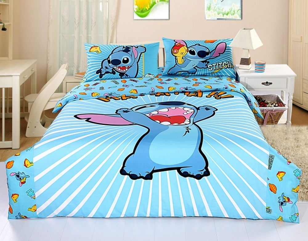 New 2013 Disney Lilo Stitch Bedding Set 4pc Queen Bed