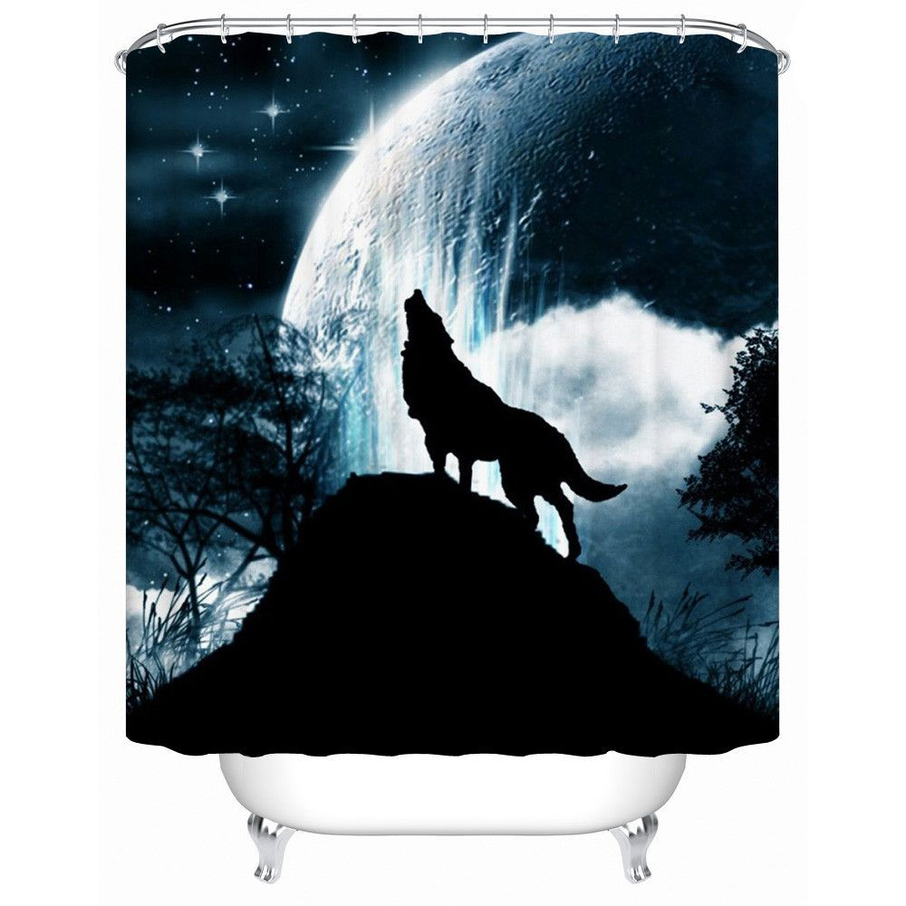 Wolf Shower Curtain Howling Under Full Moon Print for Bathroom