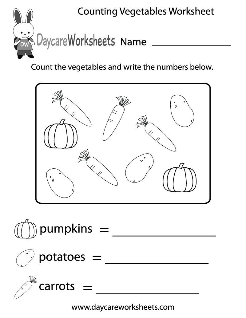 Free Counting Vegetables Worksheet For Preschool Kindergarten Worksheets Preschool Counting Worksheets Preschool Worksheets [ 1035 x 800 Pixel ]