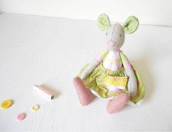 Mouse Doll eco friendly fabric soft toy plush от 5lovebirdsnest, €33.00