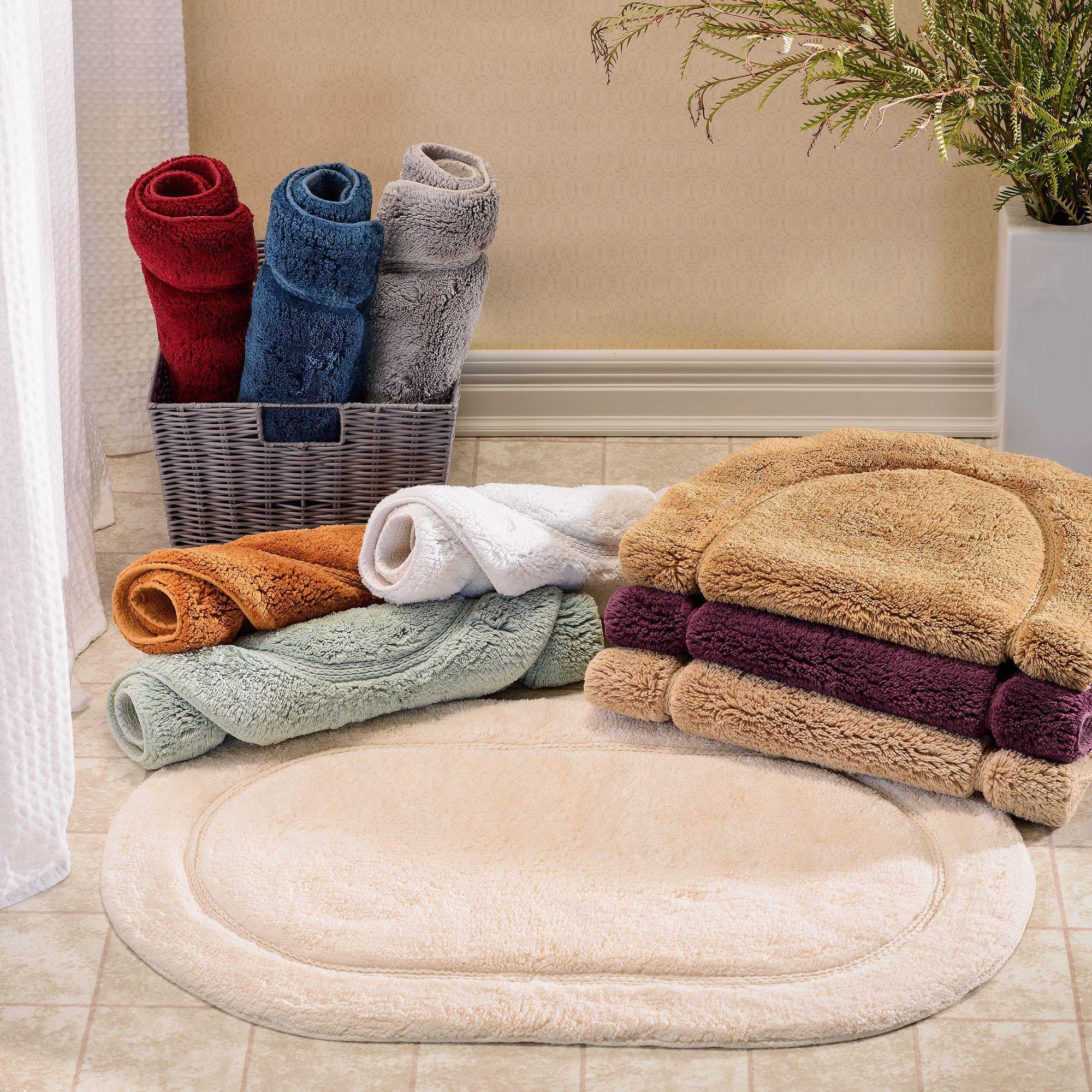 Miranda Haus Collection Luxurious Cotton Non Skid Oval Bath Rug 2