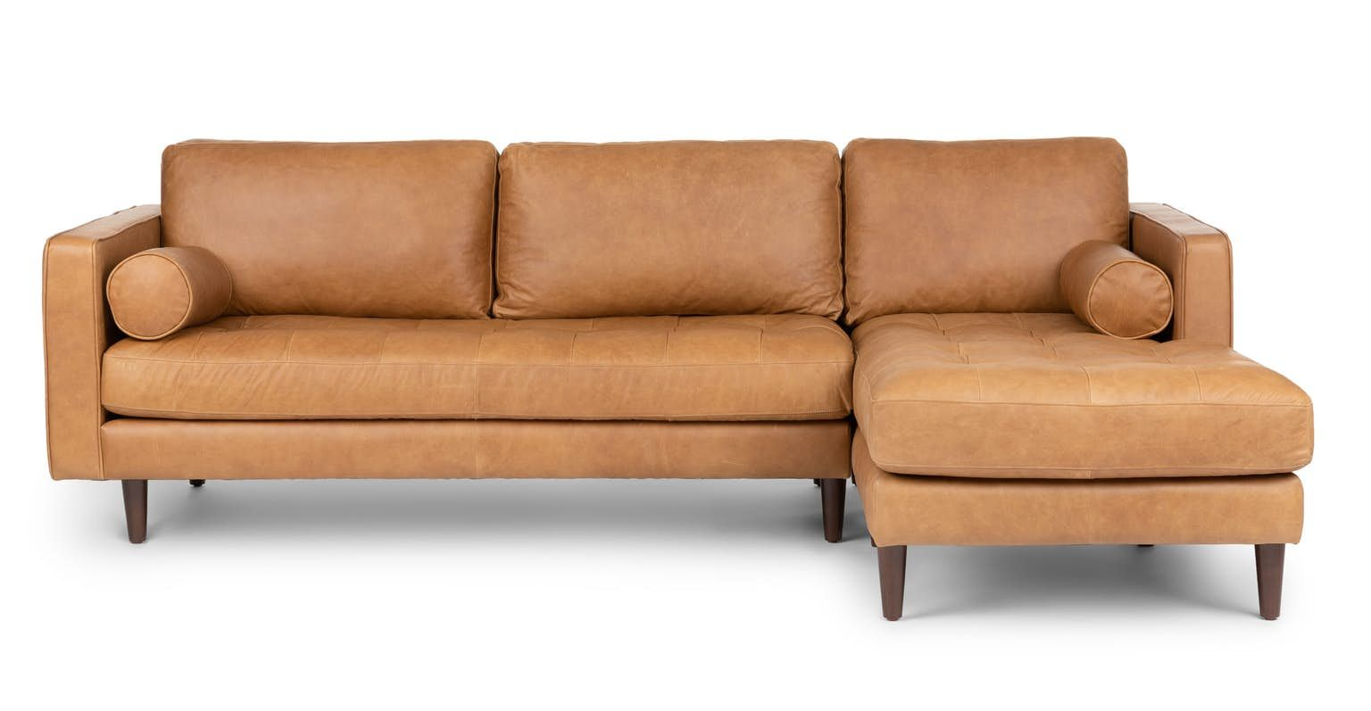 Sven Charme Tan Right Sectional Sofa Tan Leather Sectional Mid Century Modern Sectional Sofa Modern Sofa Couch