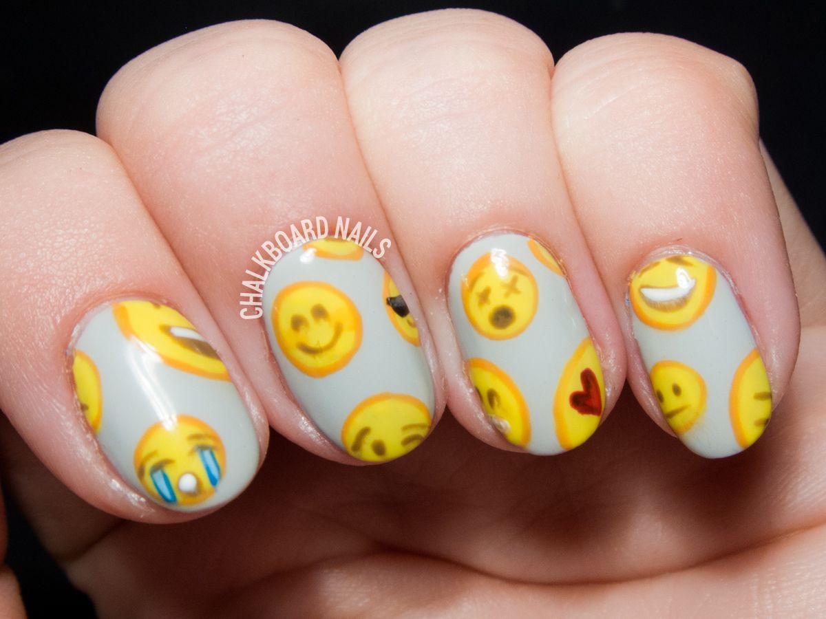 Emoji Pattern Nail Art Emoji Nails Emoji And Pattern Nails