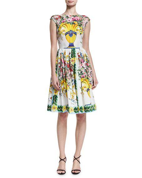 06b2783379ec DOLCE & GABBANA Floral Vase Cap-Sleeve Fit & Flare Dress, White Pattern. # dolcegabbana #cloth #