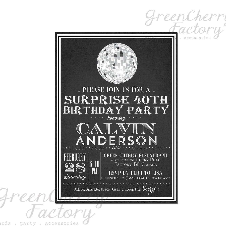 disco adult birthday invitation - Google Search | \