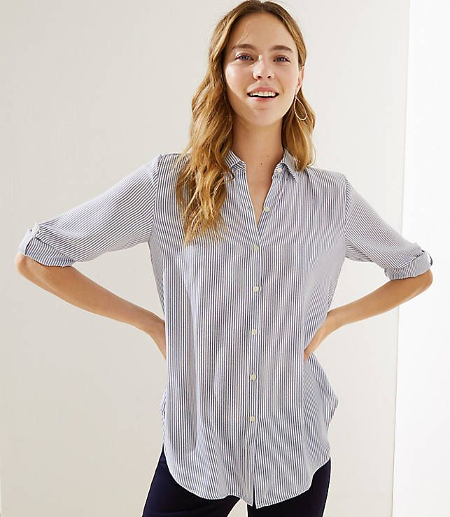840cdd874b7 LOFT Striped Tie Hem Utility Blouse in 2019 | Outfits i Love | Tunic ...