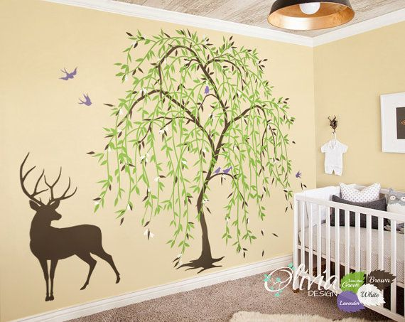Large Baby nursery Willow Tree vinyl wall decal, Tree sticker wall ...