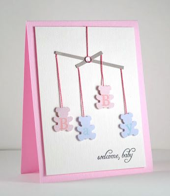 Baby girl card Can change colors to make for a boy or gender