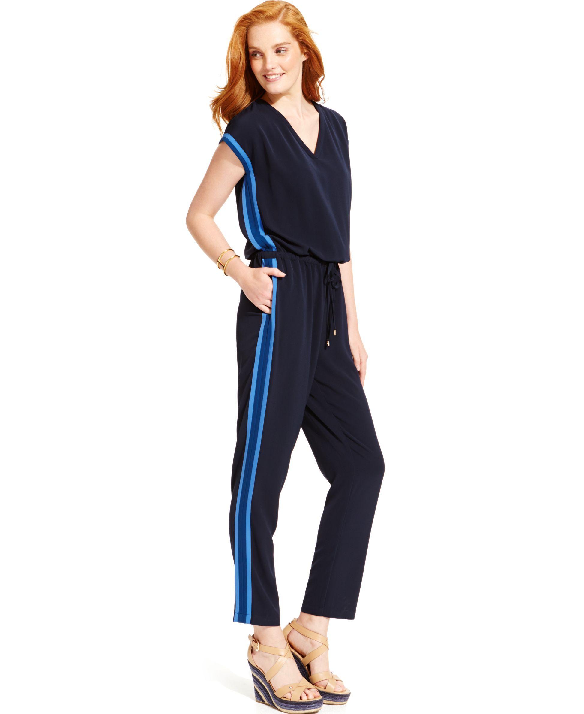 8d248aef5 Tommy Hilfiger Side-Stripe Drawstring Jumpsuit   Products   Jumpsuit ...