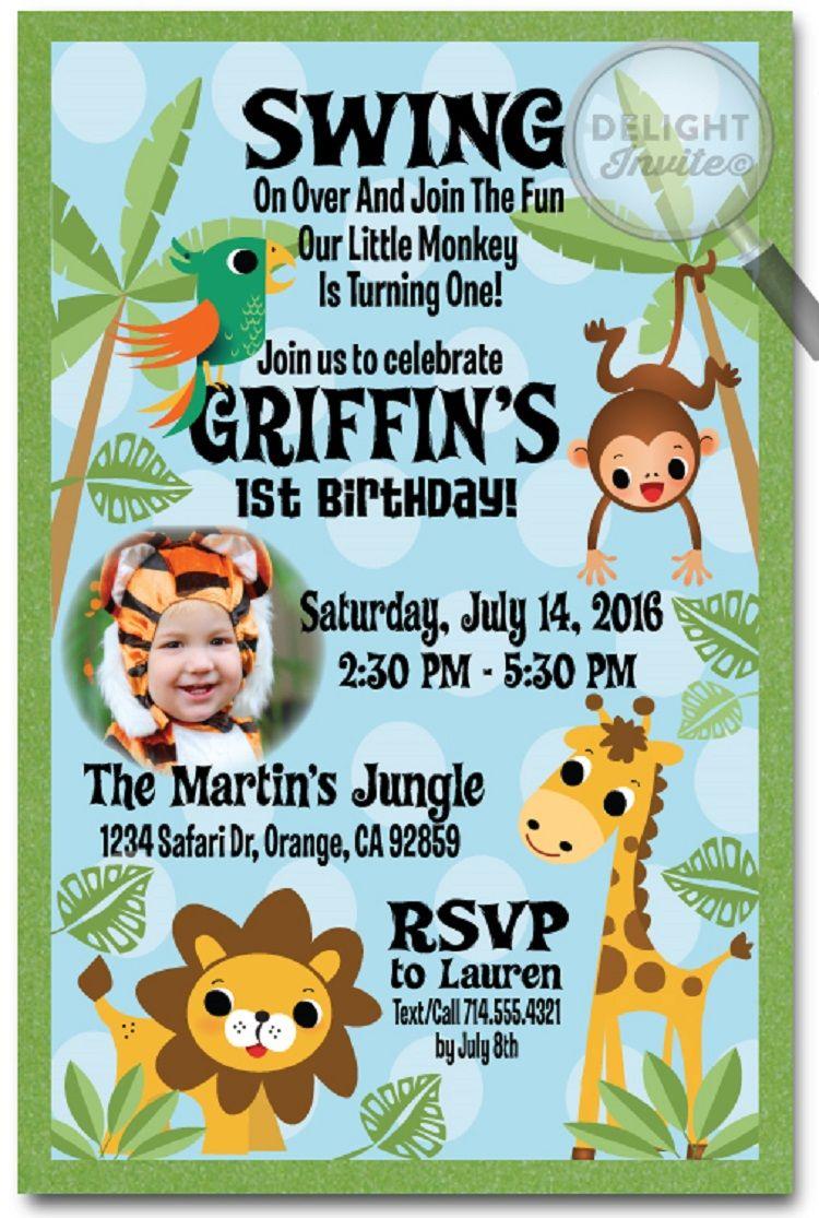 Jungle Theme Birthday Invitation Jungle Theme Birthday Birthday Party Invitation Templates Jungle Theme Birthday Party