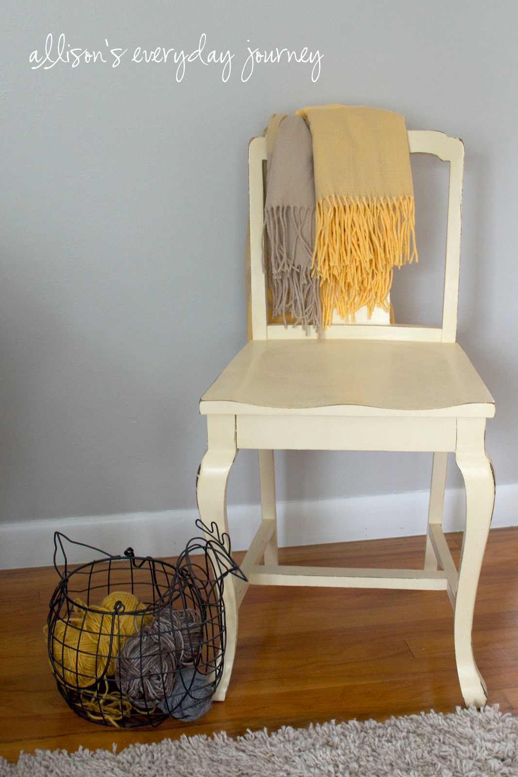 Cute yellow painted chair. ASCP in Cream.  Yellow furniture