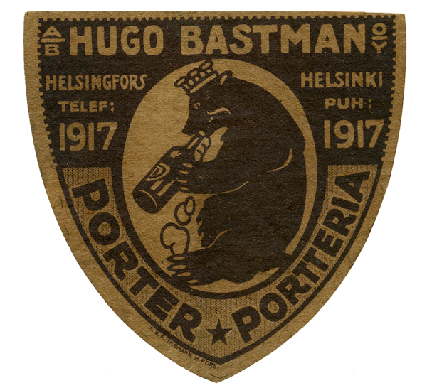 Porter, Portteria, Ab Hugo Bastman Oy #beer #labels #olut #etiketit #karhu #Helsinki