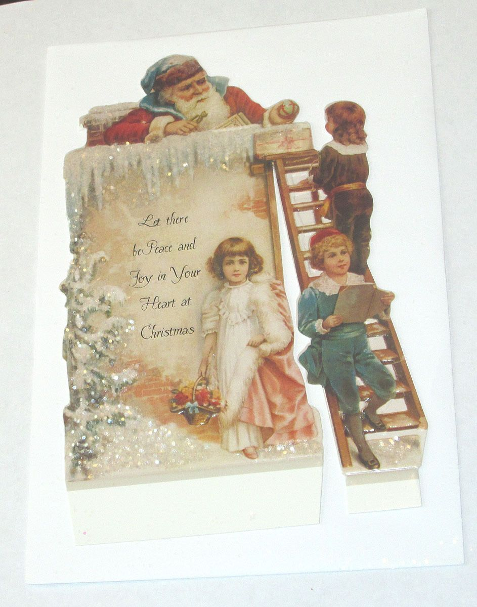 NEW VICTORIAN SANTA CLAUS CHILDREN LADDER GLITTER DIECUT GREETING CARD W ENV