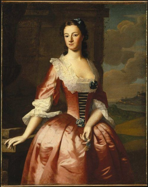 """""""Portrait of a Woman"""" by Robert Feke, ca 1748 US, the Brooklyn Museum"""