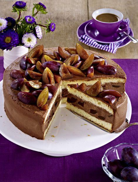 Pflaumen Schoko Mousse Torte Zutaten Fur Kleine Springform O 16 18