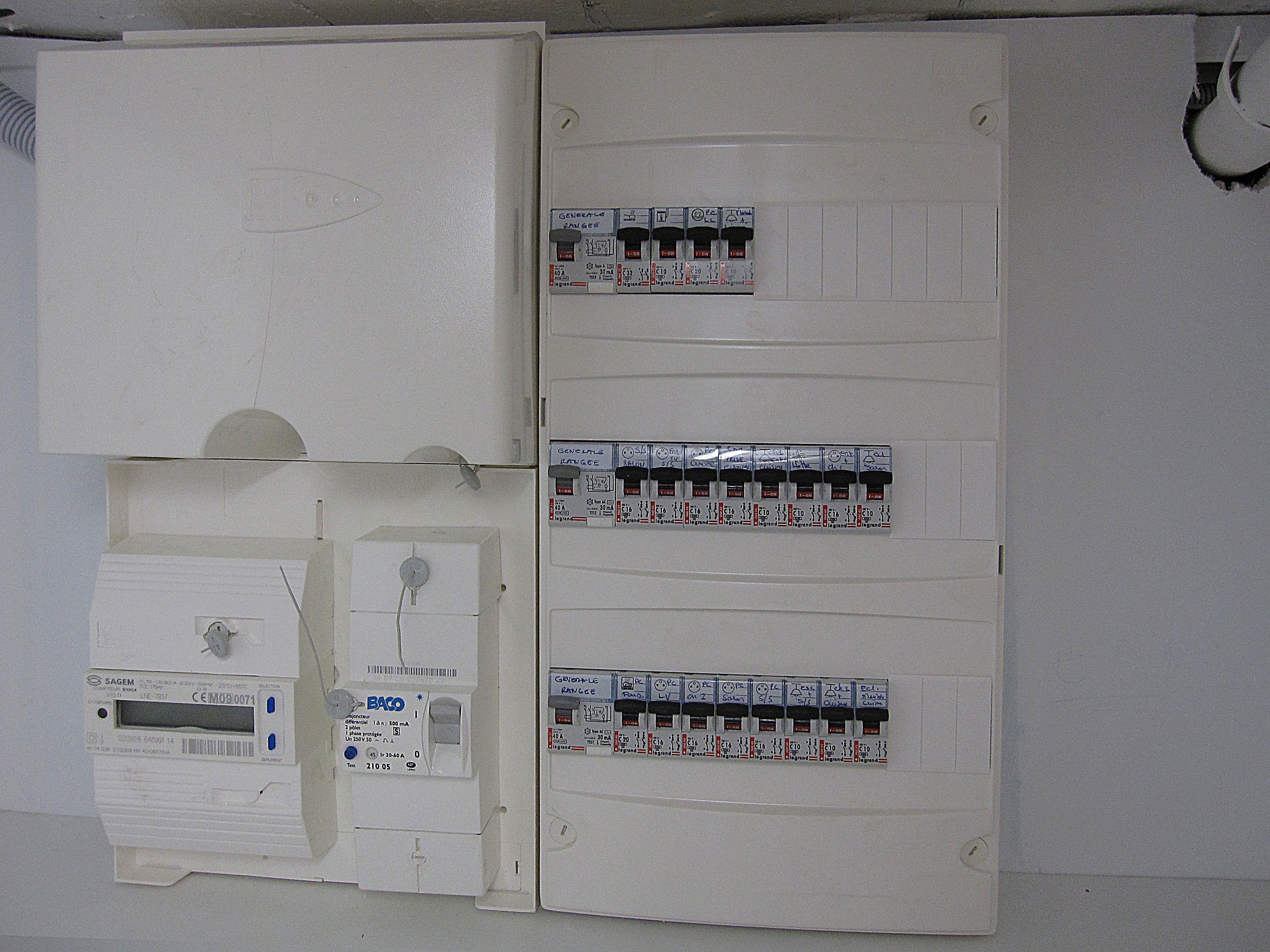 Compteur Disjoncteur General Et Tableau De Repartition Des Circuits Electriques Electricite Generale Circuit Electrique Electrique