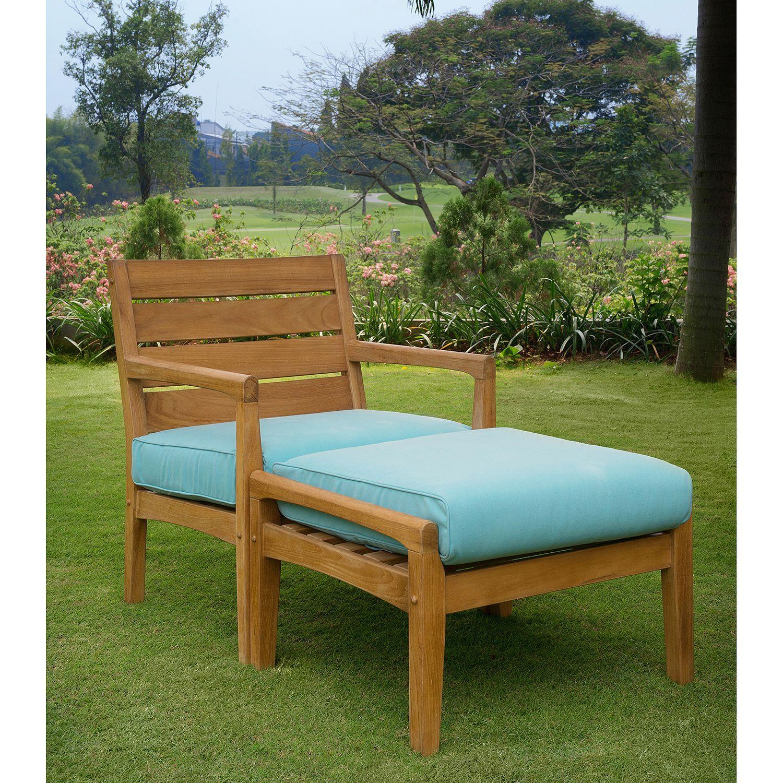 Madison Teak Ottoman Ottoman, Teak, Outdoor furniture