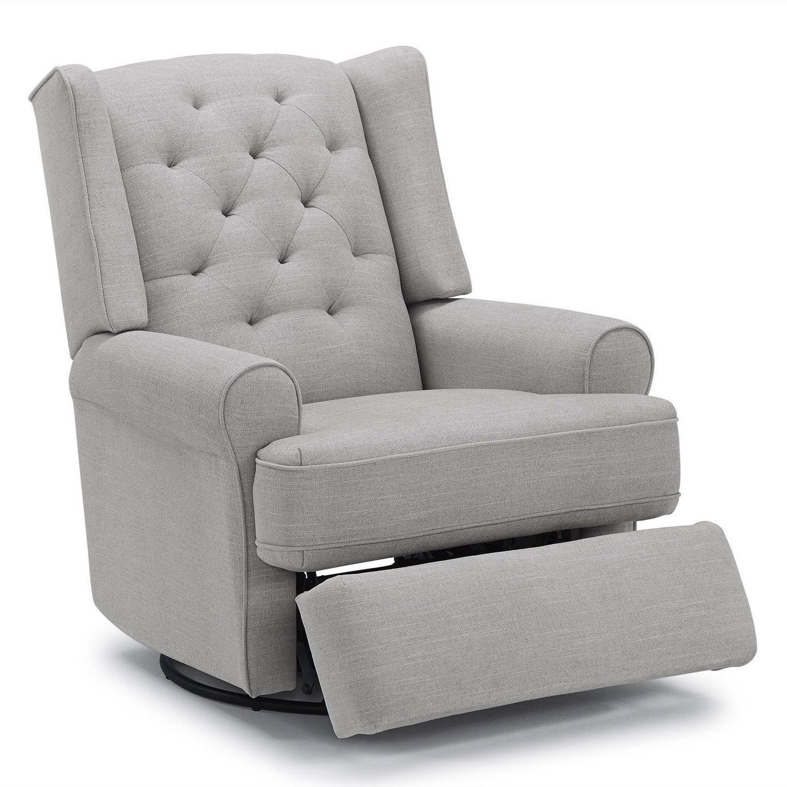 Best Chairs Finley Swivel Glider Recliner Gray Tweed Reclining