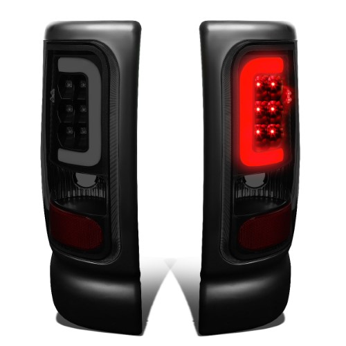 For 1994 To 2002 Dodge Ram 1500 2500 3500 Pair Of Black Housing Smoked Lens 3d Led U Bar Tail Brake Lights 96 97 98 99 00 01 Dodge Ram 1500 Lens Black