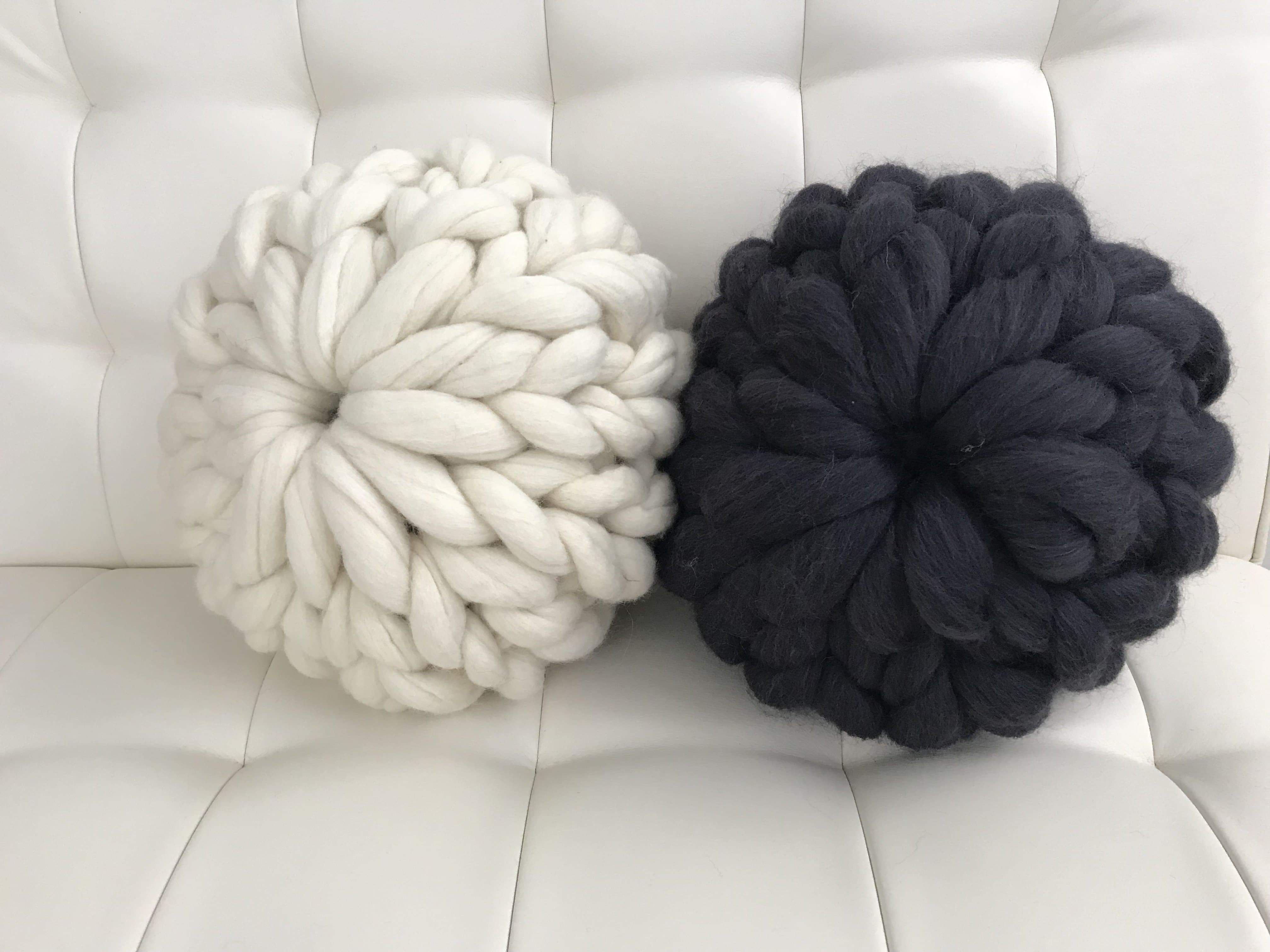 Round Pillow, felted Merino wool - Cloud