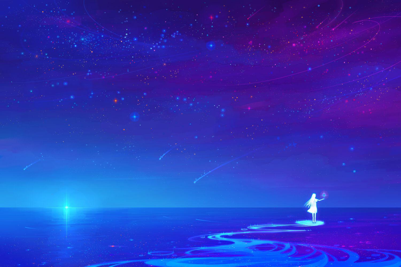 Anime Night Sky wallpaper (Có hình ảnh) Phong cảnh