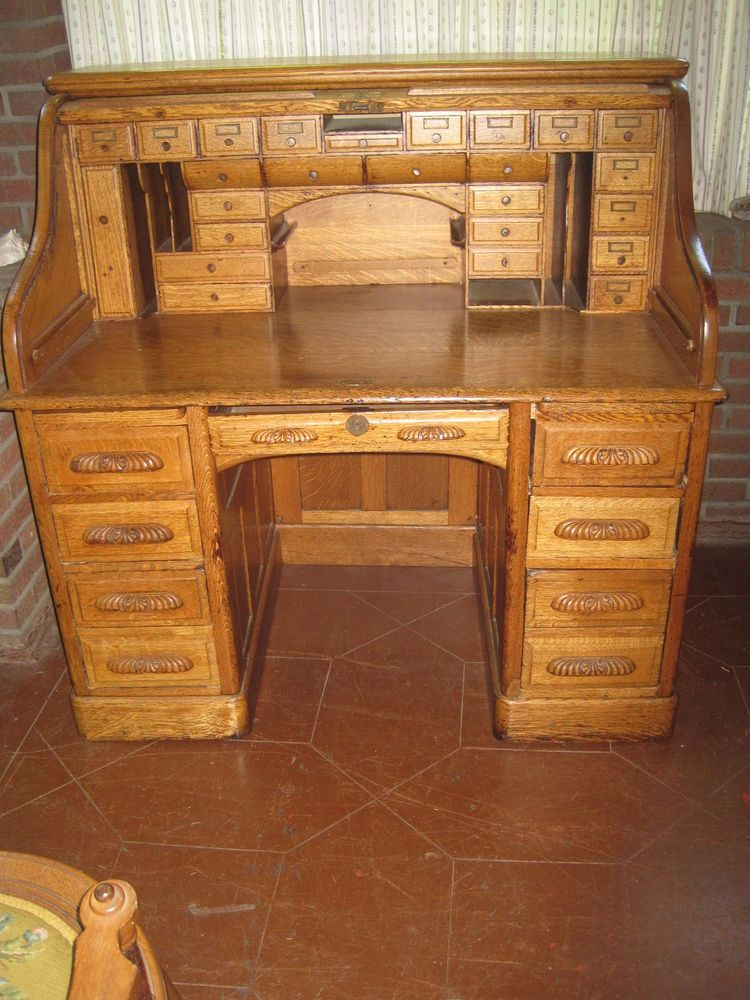 Antique Quarter Sawn Golden Oak Roll Top Desk 1890 1910 #Victorian
