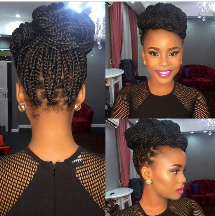 Women Pulled Back Box Braids With Beads Updo Hairstyles Braided Hairstyles Updo Box Braids Styling Braided Hairstyles