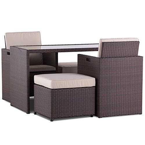 Cannes Two plus Two Seater Cube Dining Set - Brown Rattan Garden