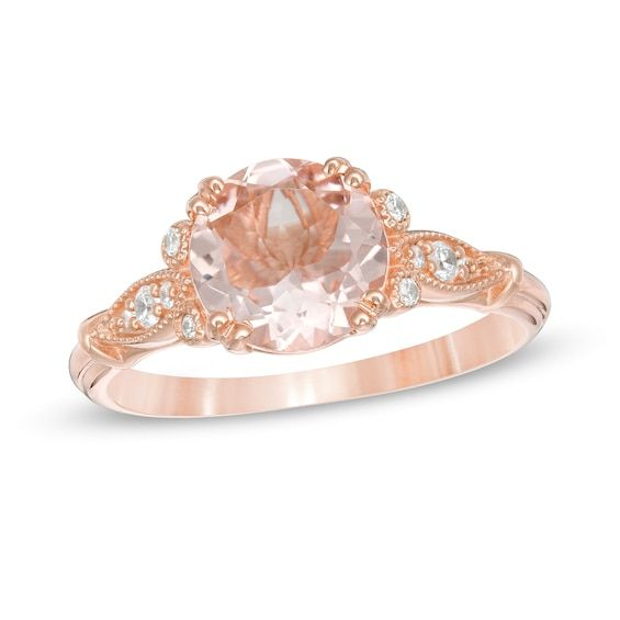 8 0mm Morganite And 1 10 Ct T W Diamond Leaf Sides Vintage Style Ring In 10k Rose Gold Vintage Style Rings Rose Gold Fashion Rings