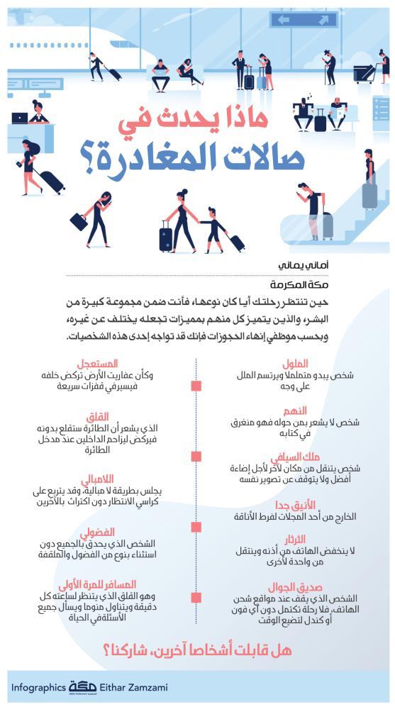 إنفوجرافيك ماذا يحدث في صالات المغادرة جراف صحيفة مكة Infographic Pill