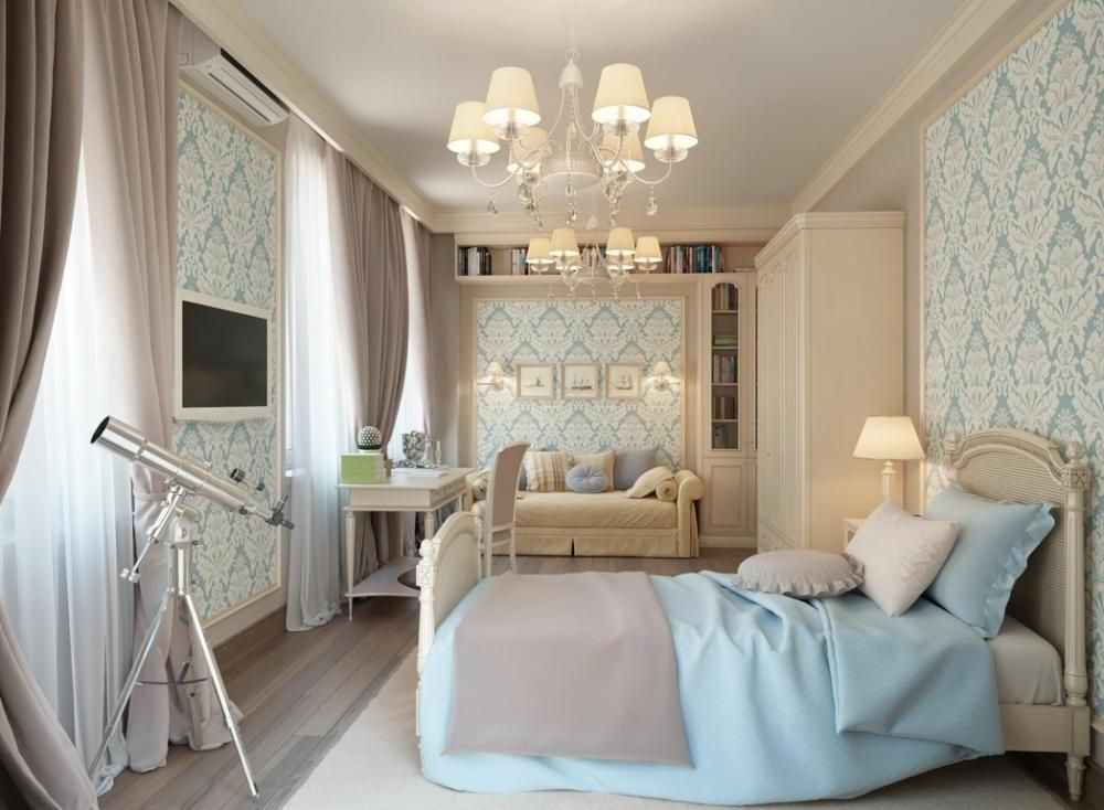Bedroom Paint Design Blue Cream Traditional Bedroom With Wallpaper Modern Interior